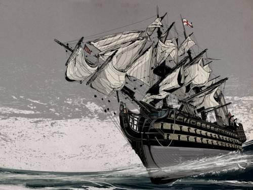 Рисованный корабль обои картинки
